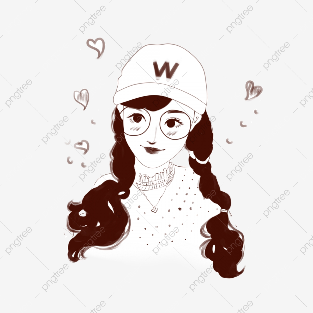 Beauty Cartoon Hand Drawn Long Hair Beauty Avatar Female Stick Figure Avatar Fashion Beauty Png Transparent Clipart Image And Psd File For Free Download