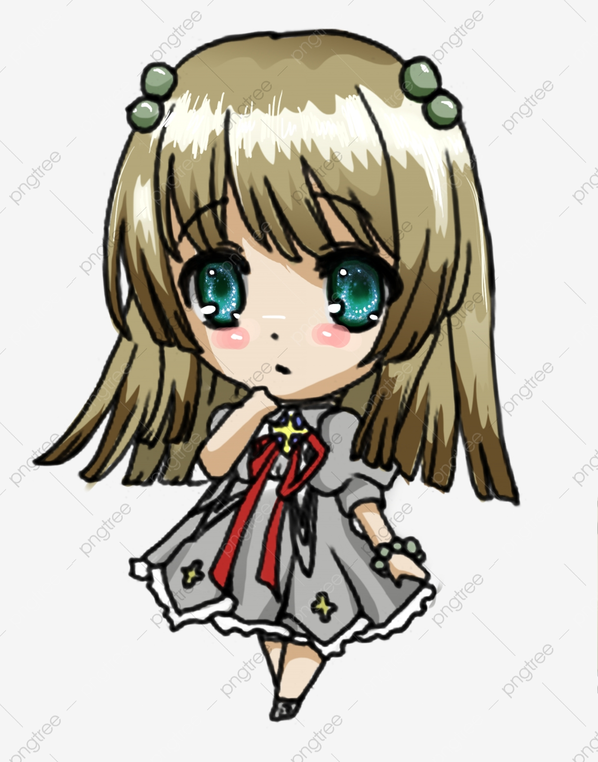 Campus Japanese Q Version Big Eyes Lovely Sprouting Beautiful Girl Png Transparent Clipart Image And Psd File For Free Download
