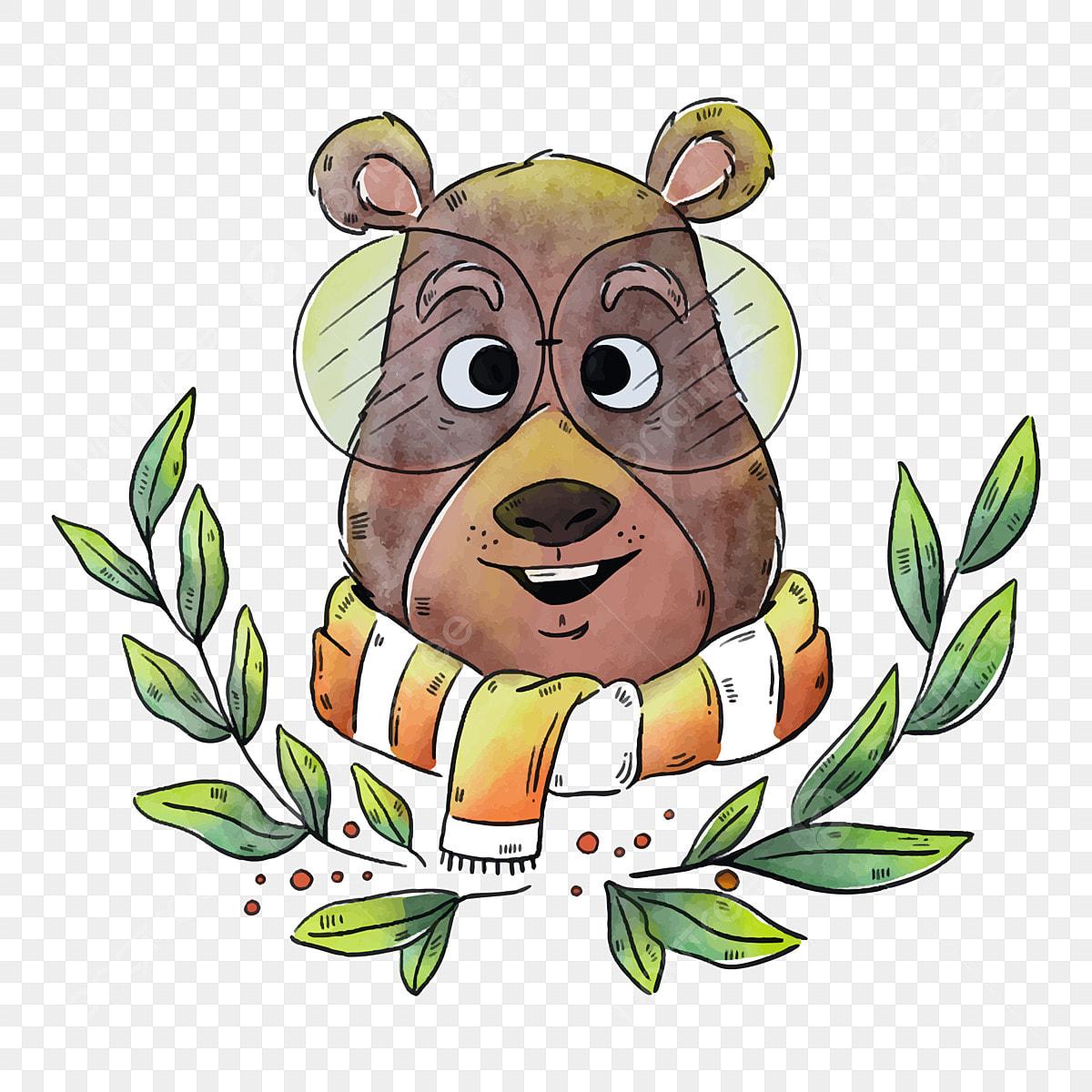 Urso Dos Desenhos Animados Urso Com Um Lenco Urso Com Oculos Avatar De Urso Dos Desenhos Animados Urso Com Um Lenco Oculos Pintados A Mao Folhas Verdes Imagem Png E Vetor Para