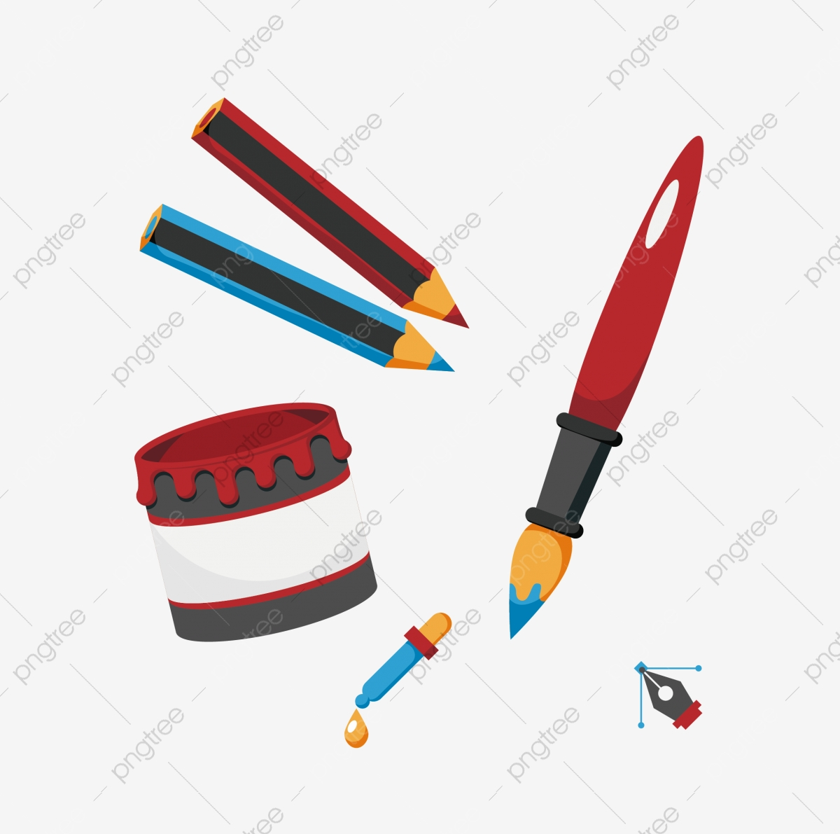Cartoon Cartoon Pen Various Pens Ink Ink Straw Straw Tool Png And Vector With Transparent Background For Free Download