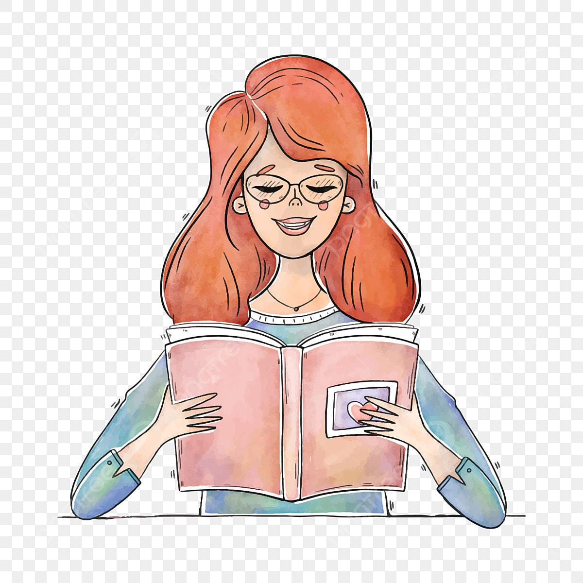 Gambar Kartun Wanita Rambut Panjang Gambar Gadis Kartun Wanita Rambut Panjang Rambut Merah Dengan Wanita Membaca Png Dan Vektor Untuk Muat Turun Percuma