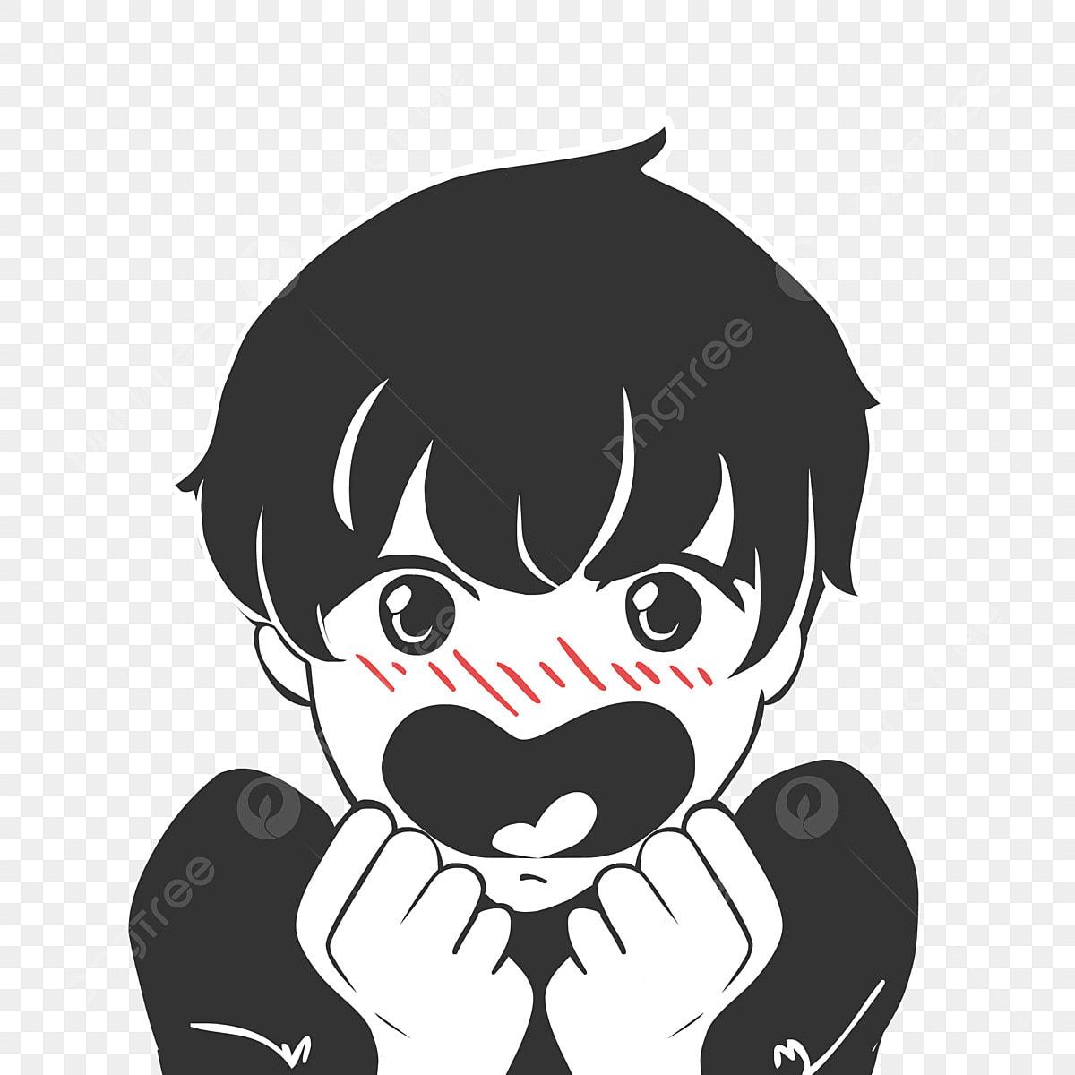 Gambar Kartun Tangan Ditarik Gaya Komik Versi Q Hitam Anime Gaya Komik Png Dan Psd Untuk Muat Turun Percuma