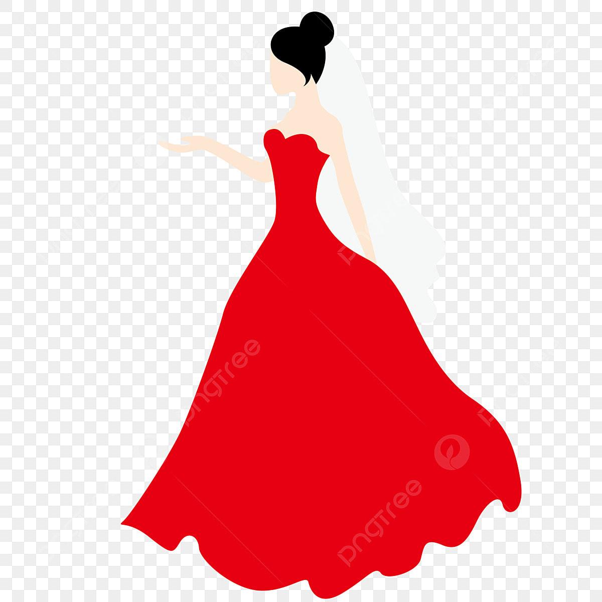 Dibujos Animados Pintado A Mano Vestido De Novia Rojo Falda