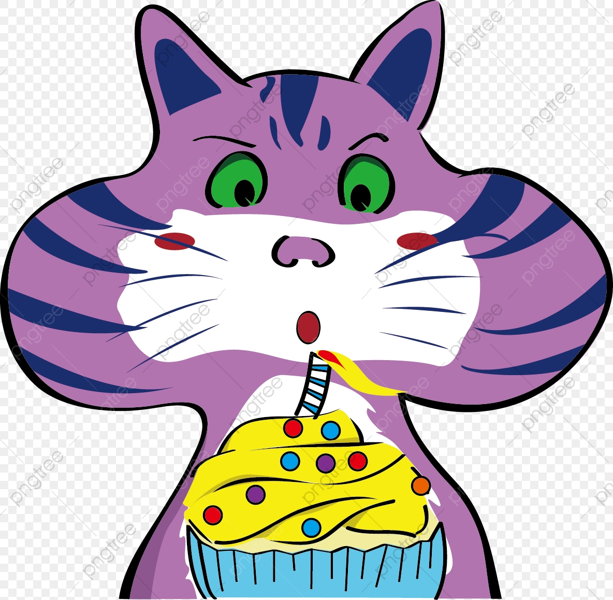 Excellent Cartoon Kitten Image Birthday Cake Blowing Candles Cute Card Funny Birthday Cards Online Necthendildamsfinfo