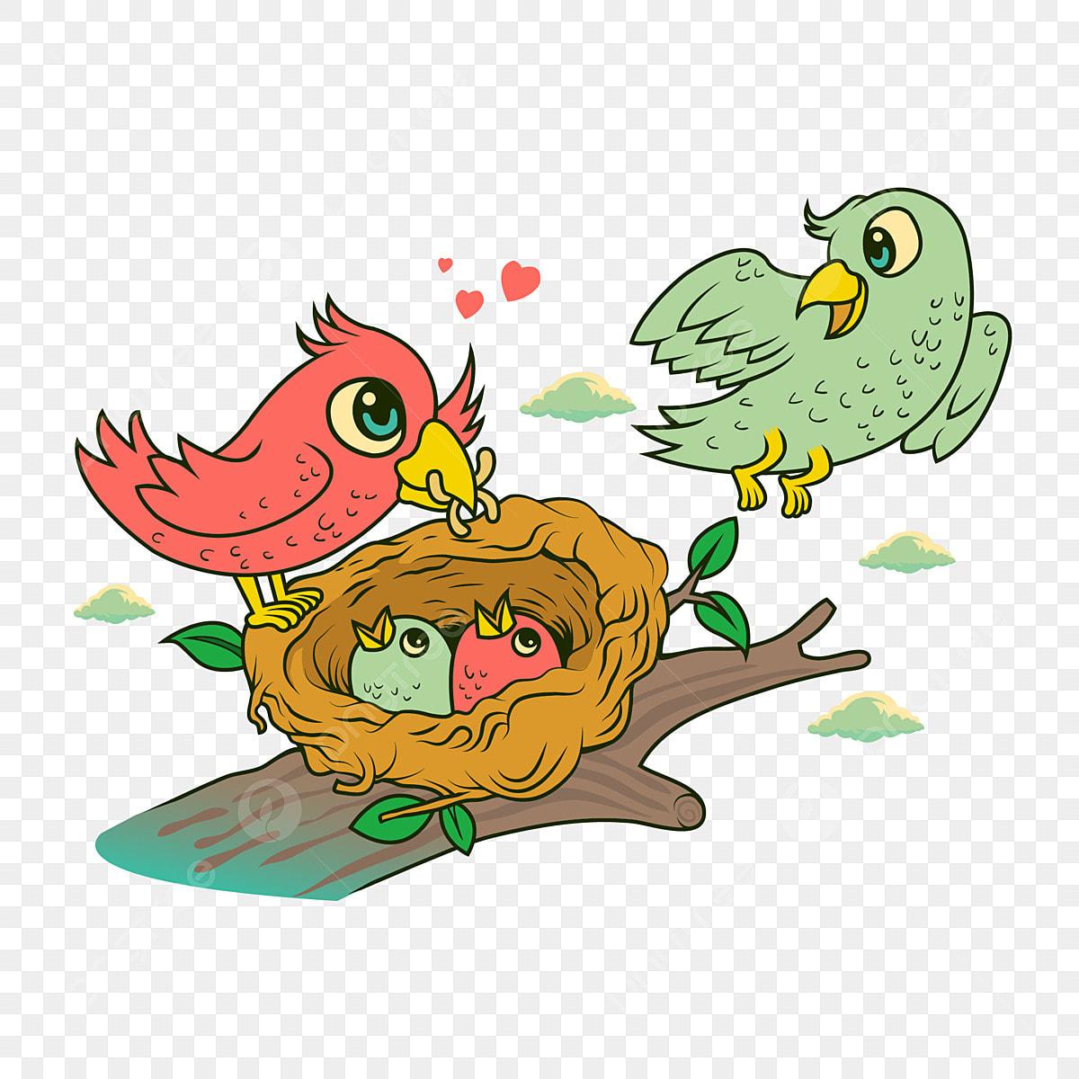 رسوم متحركة طائر صغير الطيور عائلة من أربعة عش المرسومة عش الطيور طائر أنثى Png والمتجهات للتحميل مجانا