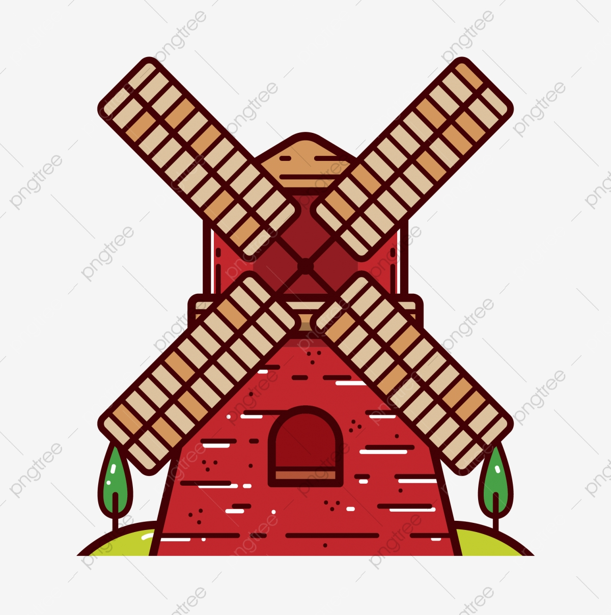Cartoon Windmill Generator Car Power Generation Cartoon