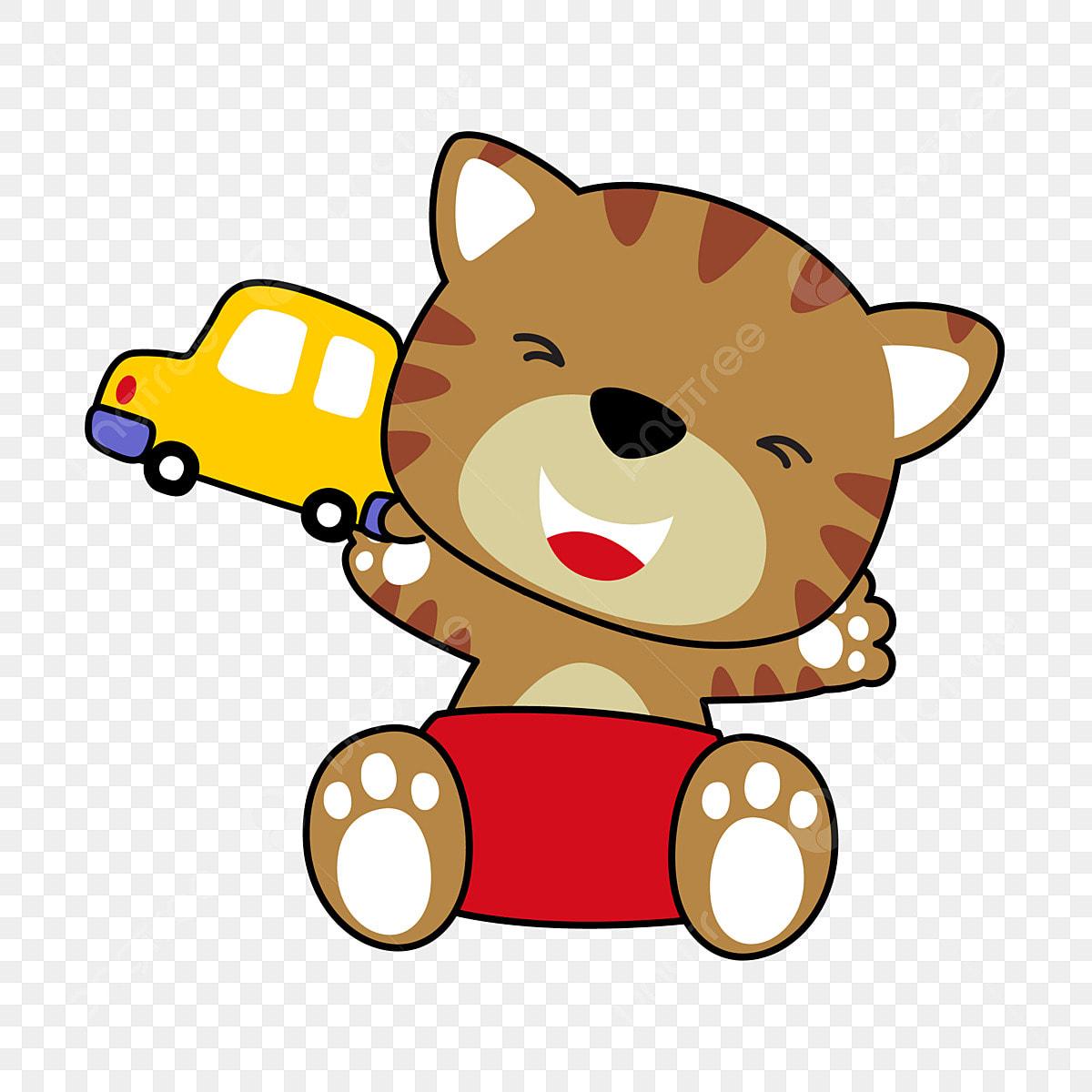 Gambar Kereta Versi Kartun Kucing Kitty Kucing Versi Q Q Versi Anak Kucing Kucing Versi Q Bahan Kereta Kartun Png Dan Vektor Untuk Muat