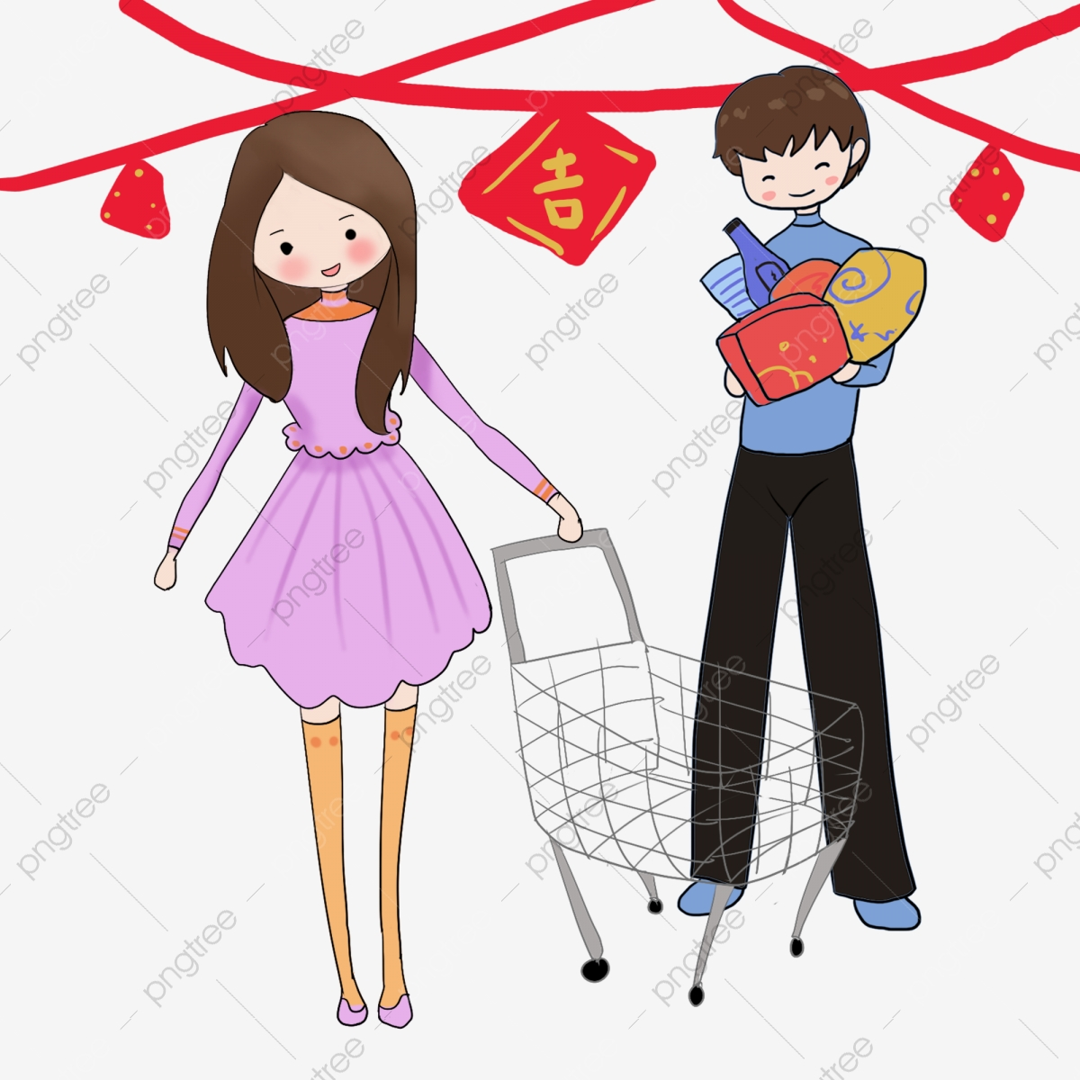 Family colorful. Merchandise prosperous shopping hand