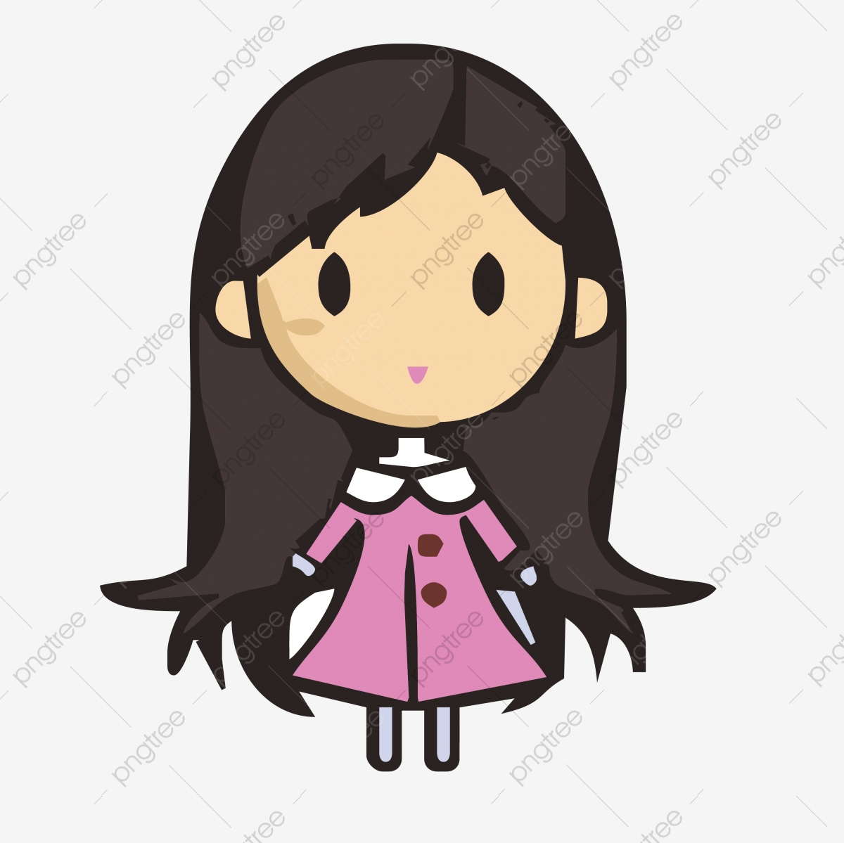 Cute Child Cartoon Character Lovely Little Girl Wearing A Pink Skirt Happy Hand Painted Children Png And Vector With Transparent Background For Free Download