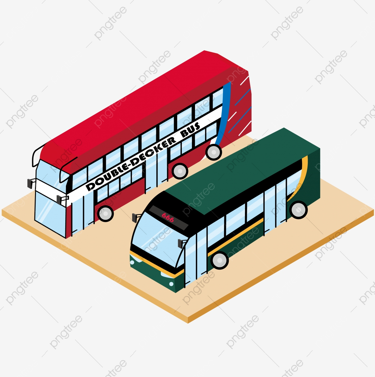 2 5d Stereo Illustration Hand Drawn Red Double Decker Bus Green Extended Bus Transportation Industry Business British Style Double Decker Bus Png And Vector With Transparent Background For Free Download