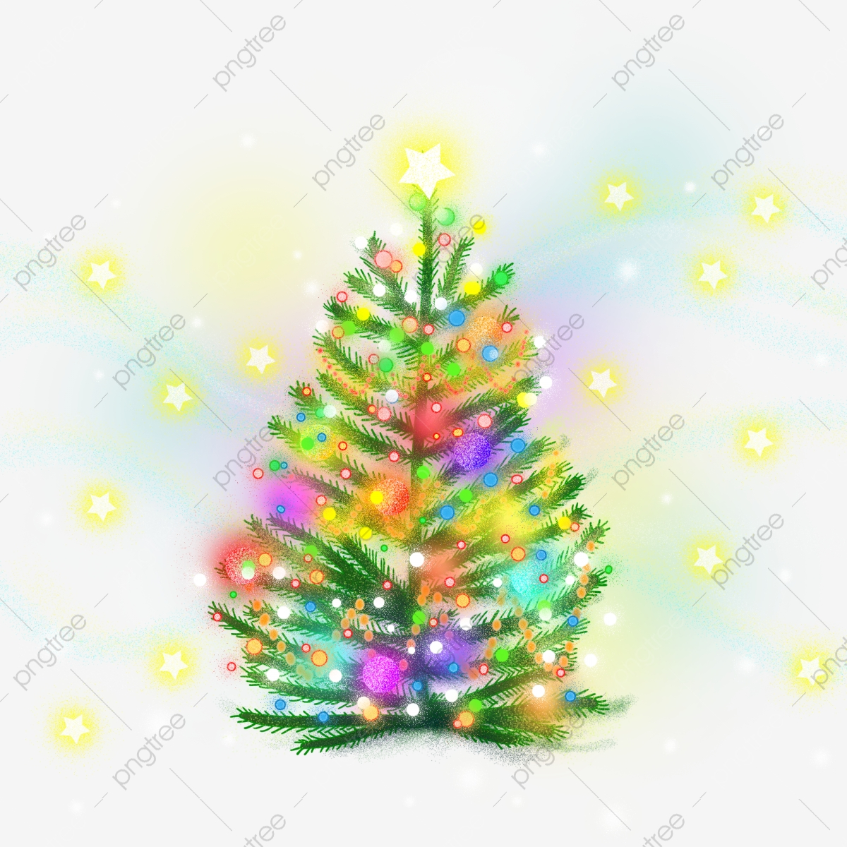 Dream Colorful Christmas Tree Hand Painted Illustration Tree Plant Png Transparent Clipart Image And Psd File For Free Download