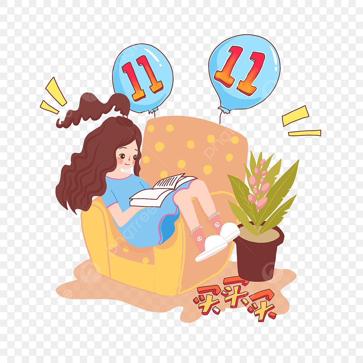 Menina Festiva Personagem De Desenho Animado Menina Lendo Um Livro