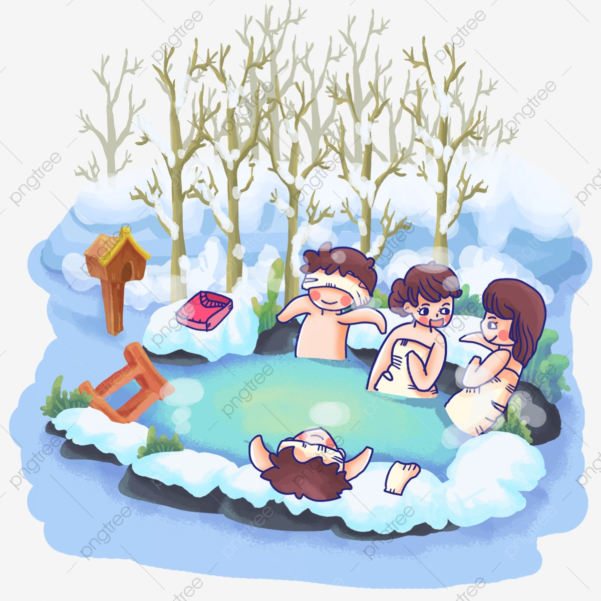 Friends Gathering Hot Springs Clothes Warm, Spa, Japanese Hot