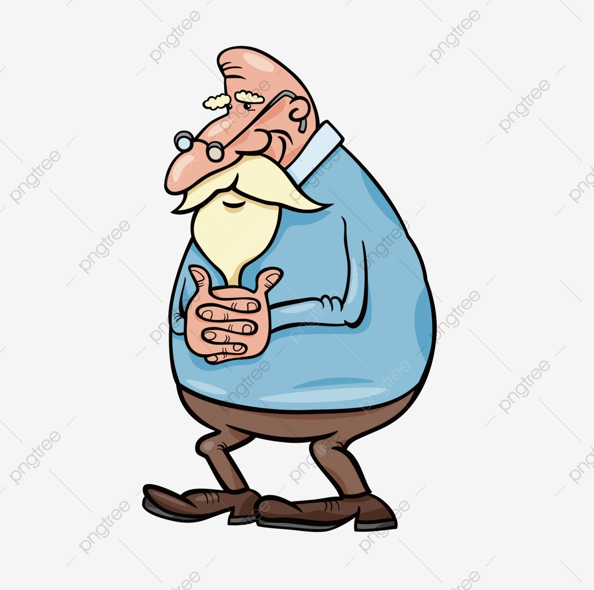 Cartoon Drawing Clip Art - White-bearded Old Man In Red Overalls  Transparent PNG