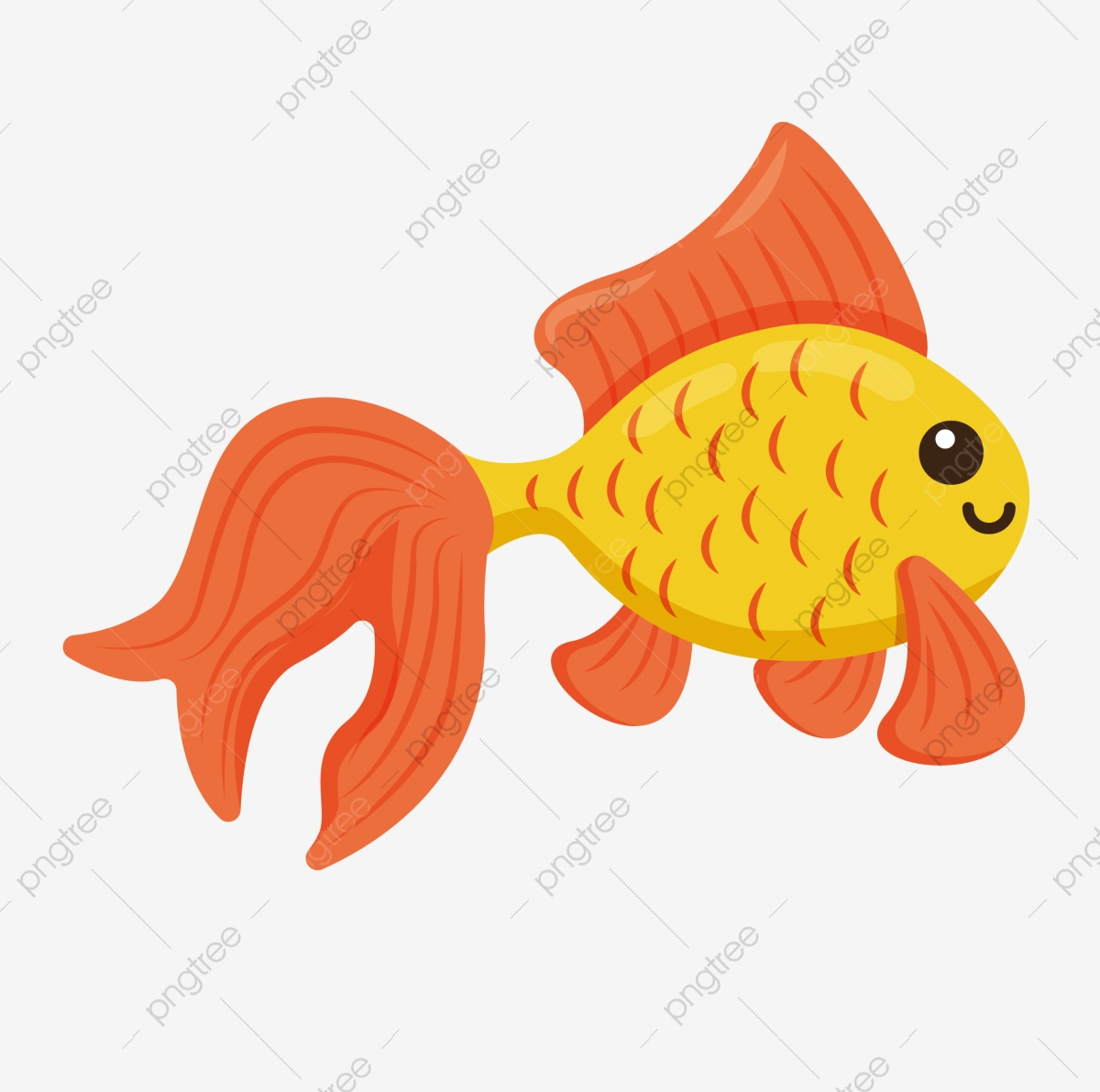 Goldfish Ornamental Fish Through Cartoon Fish Lovely Cute Fish Cartoon Png And Vector With Transparent Background For Free Download