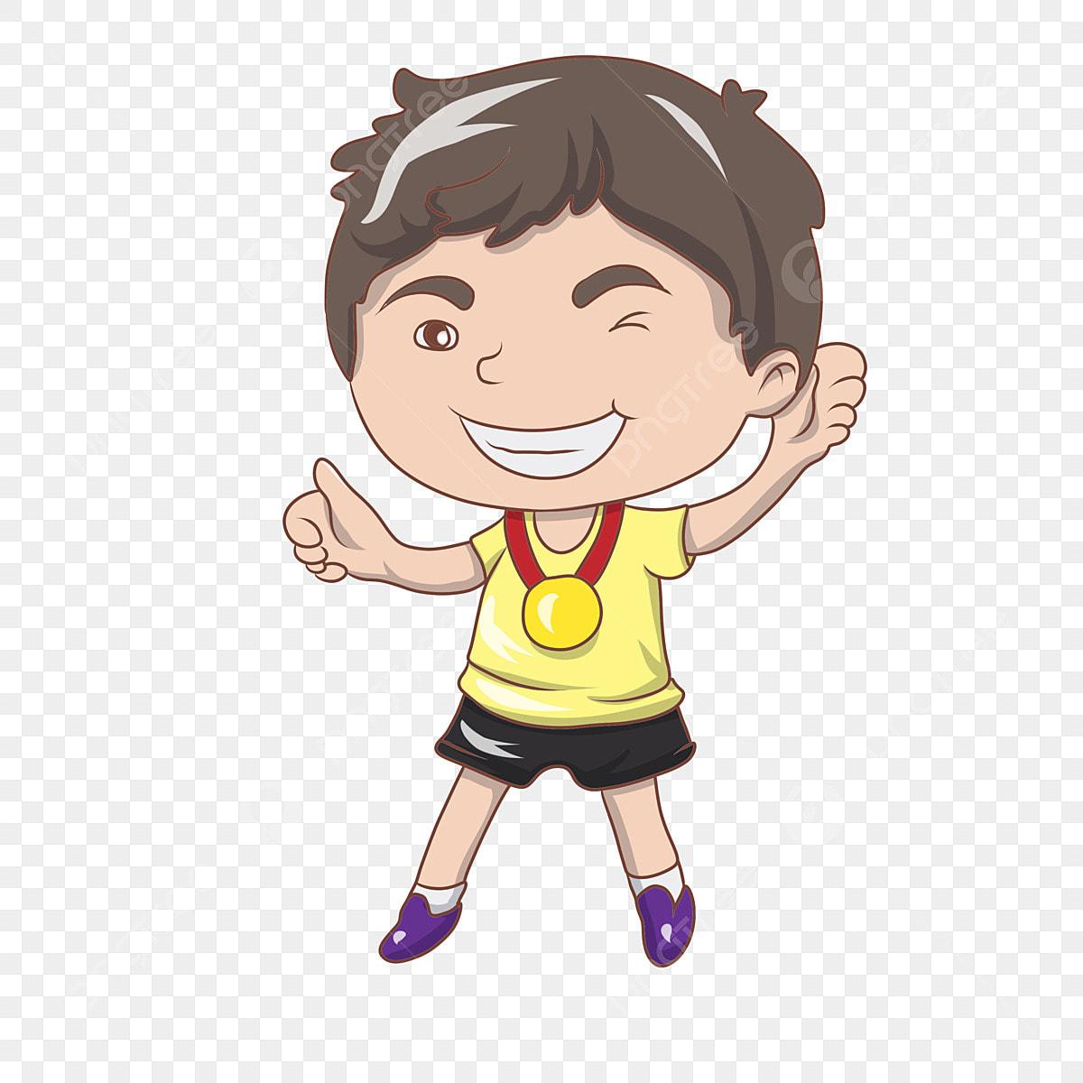 Hand Drawn Boy Trophy Medal Awarding Boy, Illustration