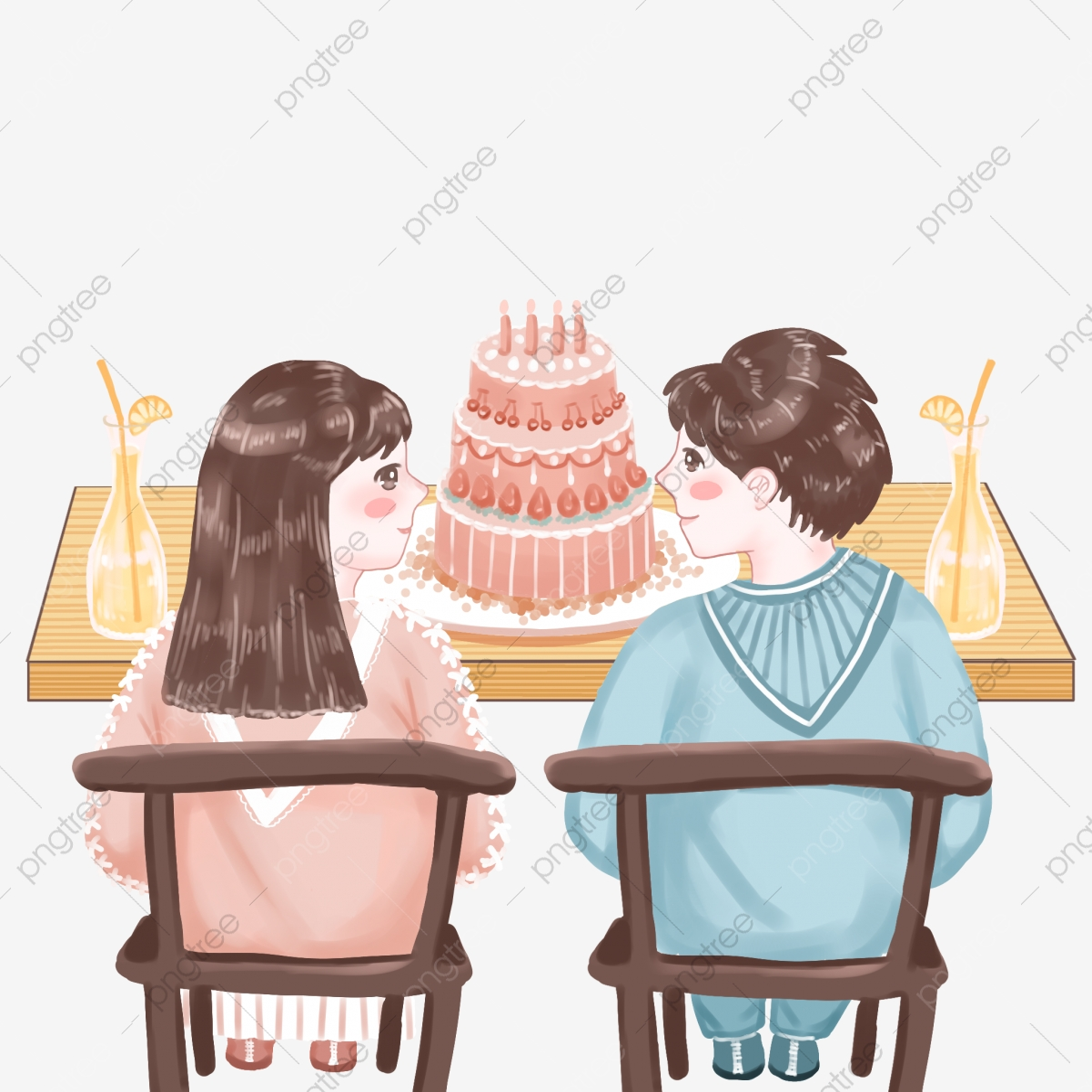 Fine Hand Drawn Cute Boy Girl Birthday Cake Romantic Look Happy Personalised Birthday Cards Paralily Jamesorg