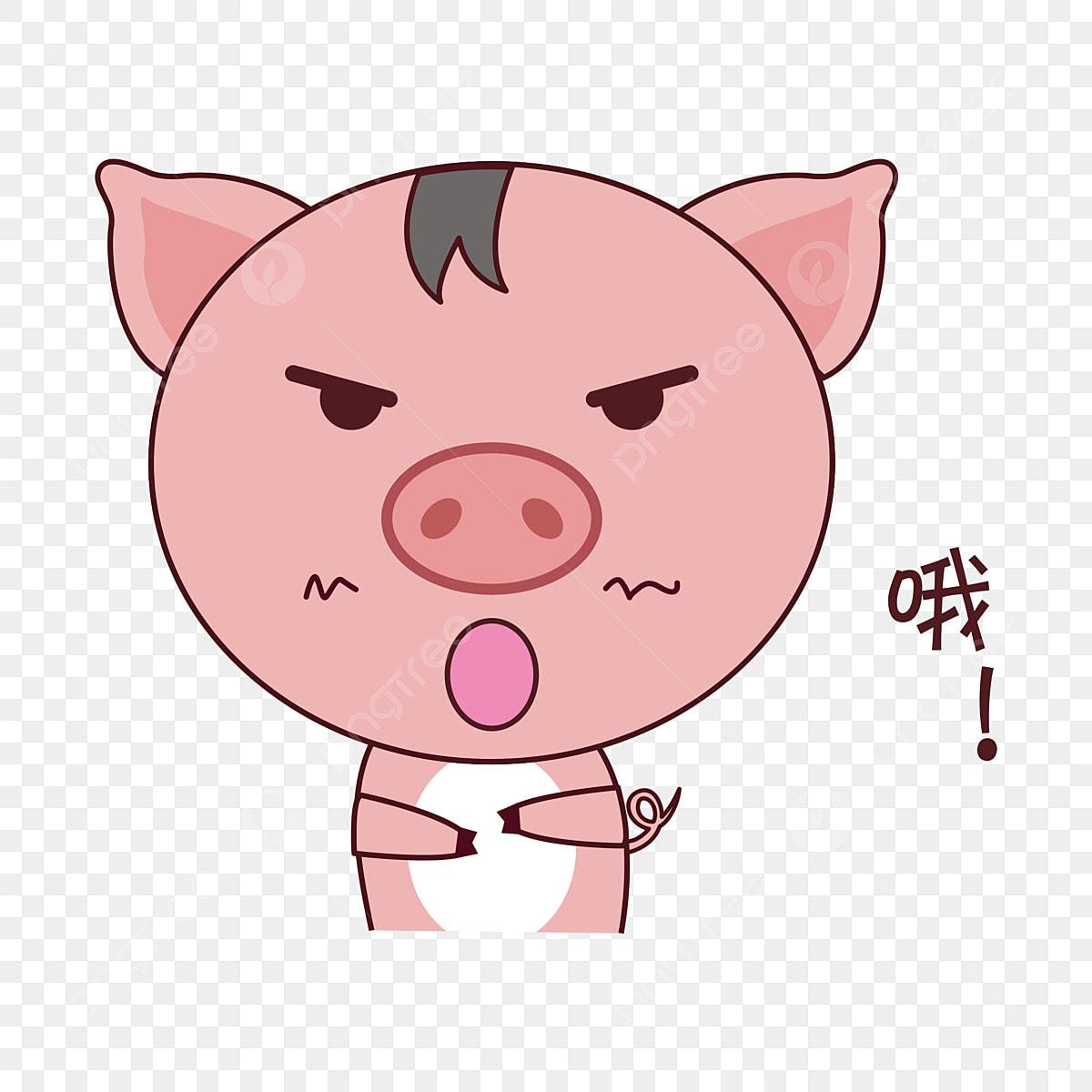 Babi Kartun Ekspresi Tangan Gaya Kartun Ekspresi Kartun Babi
