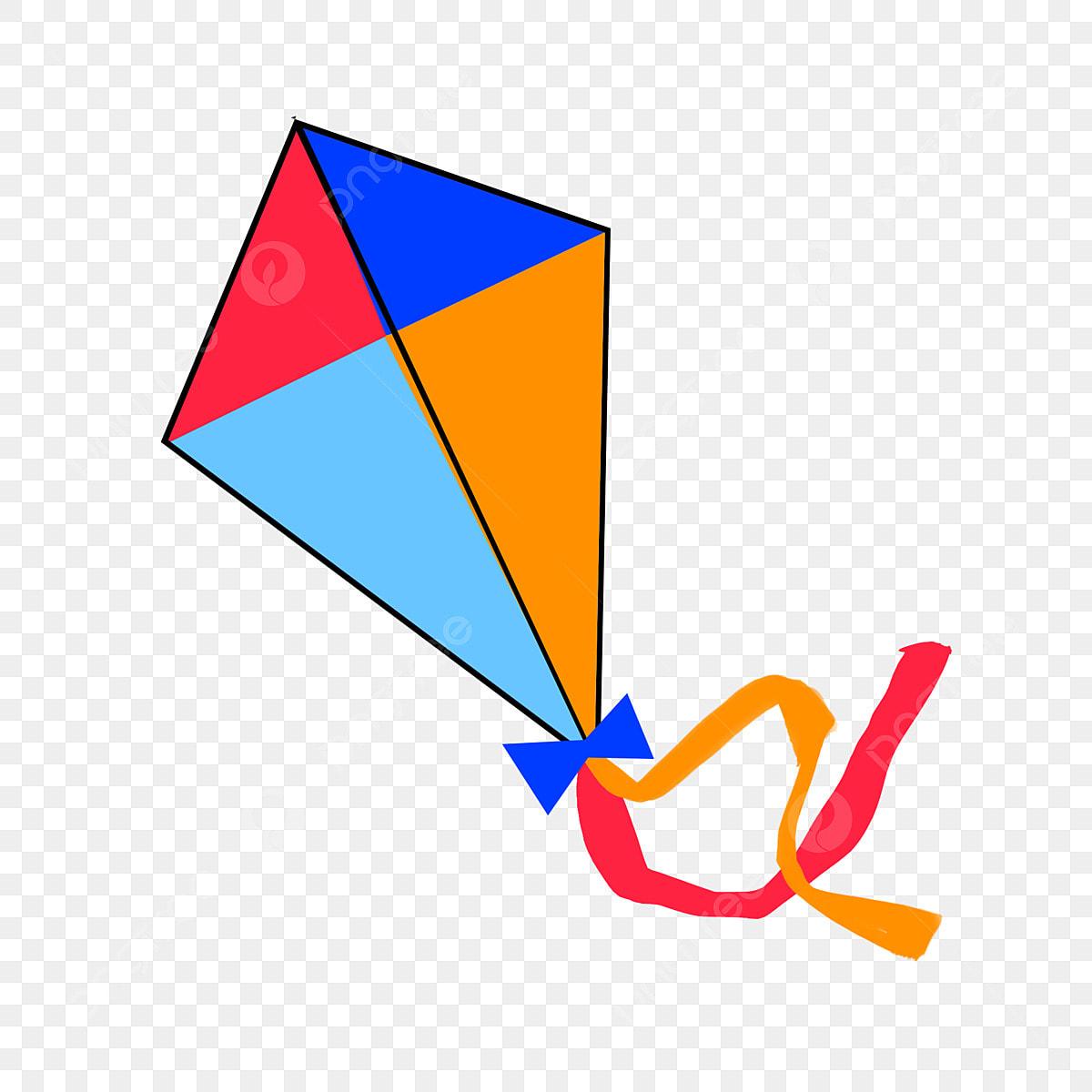 Hand Drawn Kite Cartoon Kite Illustration Color Kite Orange Ribbon