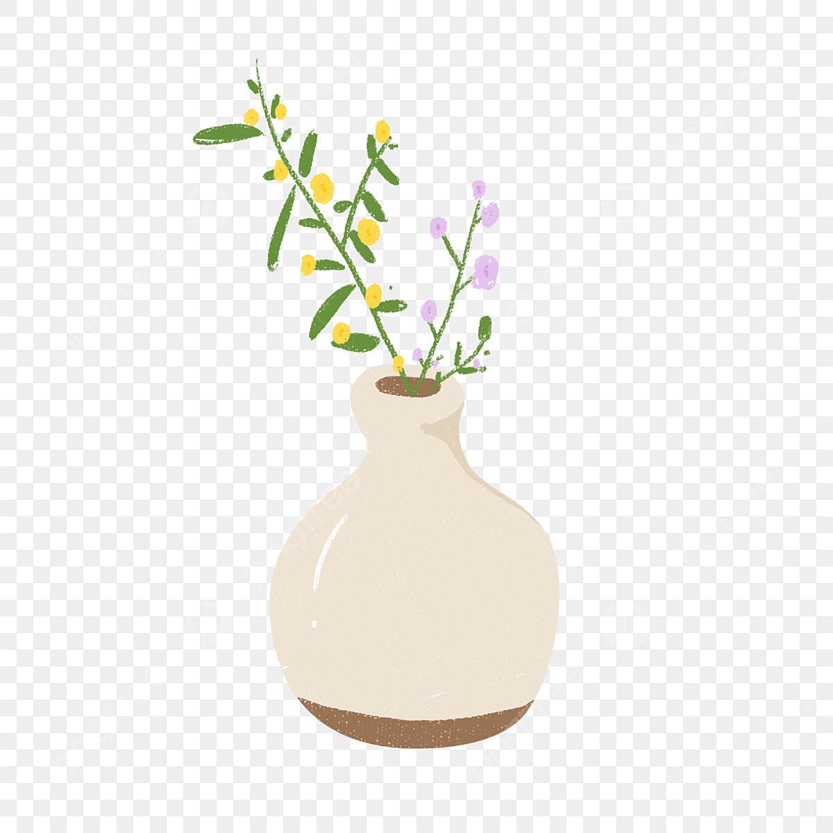 Mao Desenhada Caricatura Arranjo De Flores Vaso De Desenhos