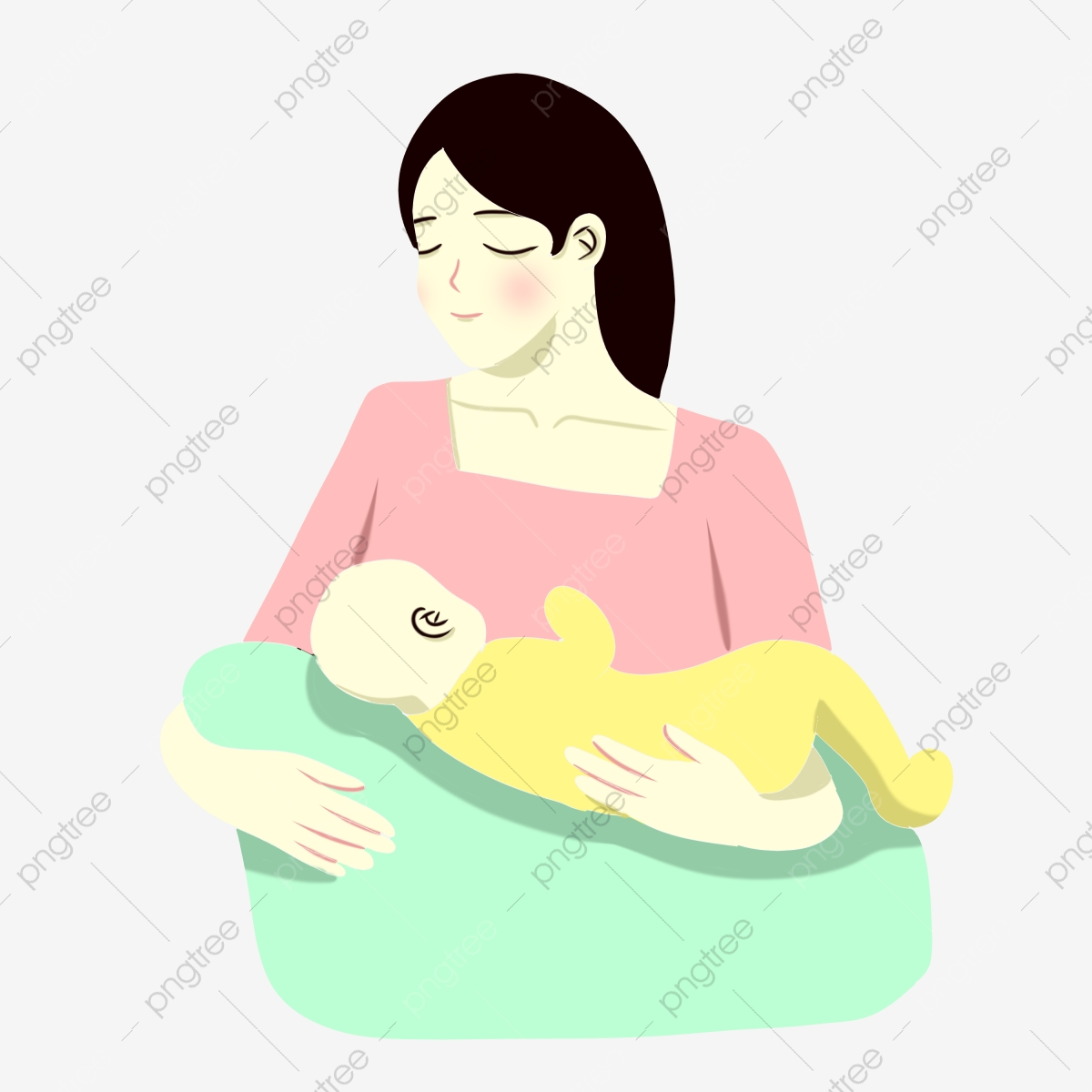 Hand Painted Cartoon Mother And Baby Breast Feeding Mother Baby Maternal Love Png Transparent Clipart Image And Psd File For Free Download