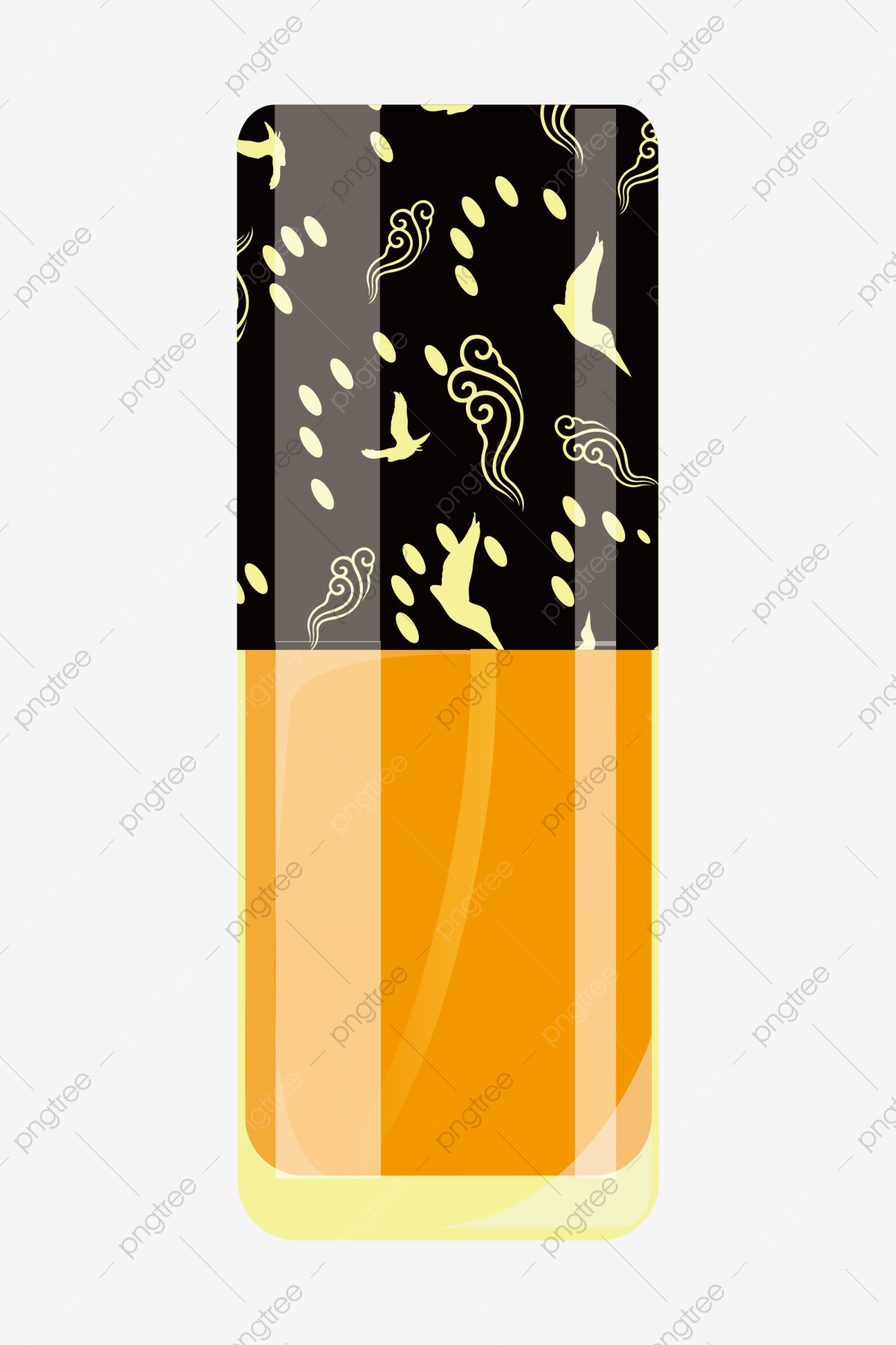 Hand Painted Cosmetic Lotion Illustration Yellow Lotion Nail