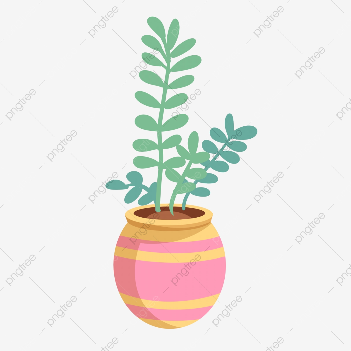 Hand Painted Green Plants Green Plant Watercolor Painting Hand ...