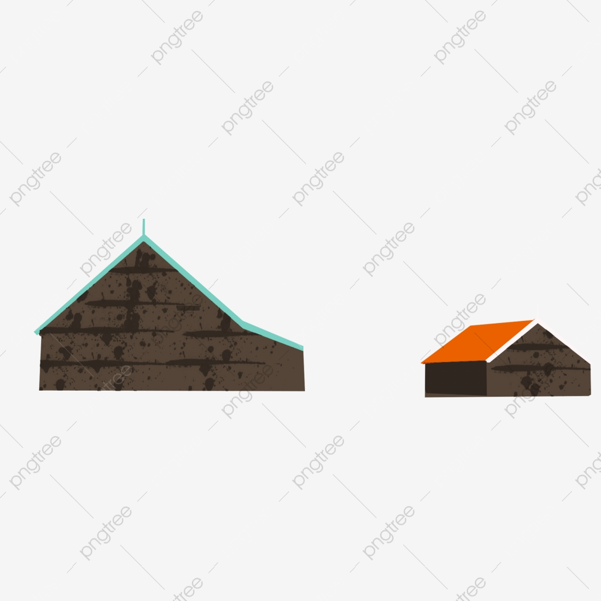 House Hand Drawn Design Cartoon Orange Roof Dark Grey House Building Triangle Png Transparent Clipart Image And Psd File For Free Download