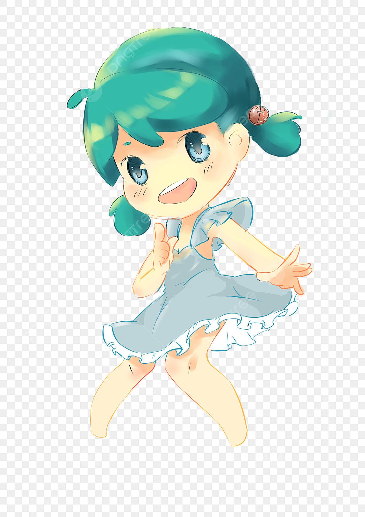 Japanese Teenage Girl Hand Drawn Illustration Cartoon Anime Blue