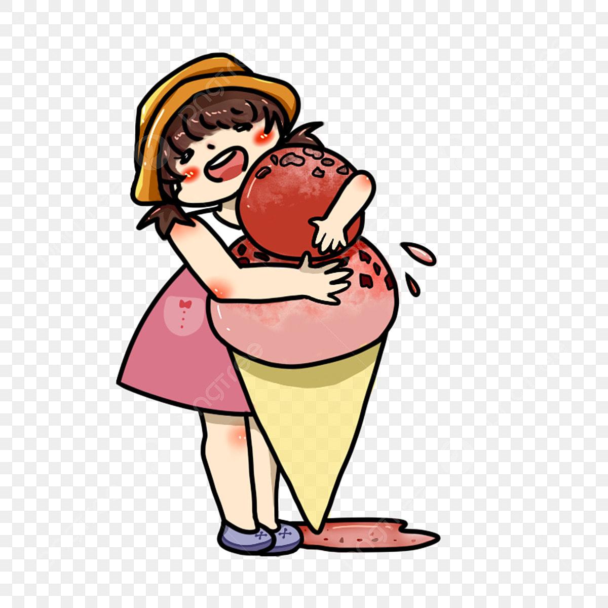 Petite Fille Avec Un Chapeau Jaune Tenant Une Grosse Glace