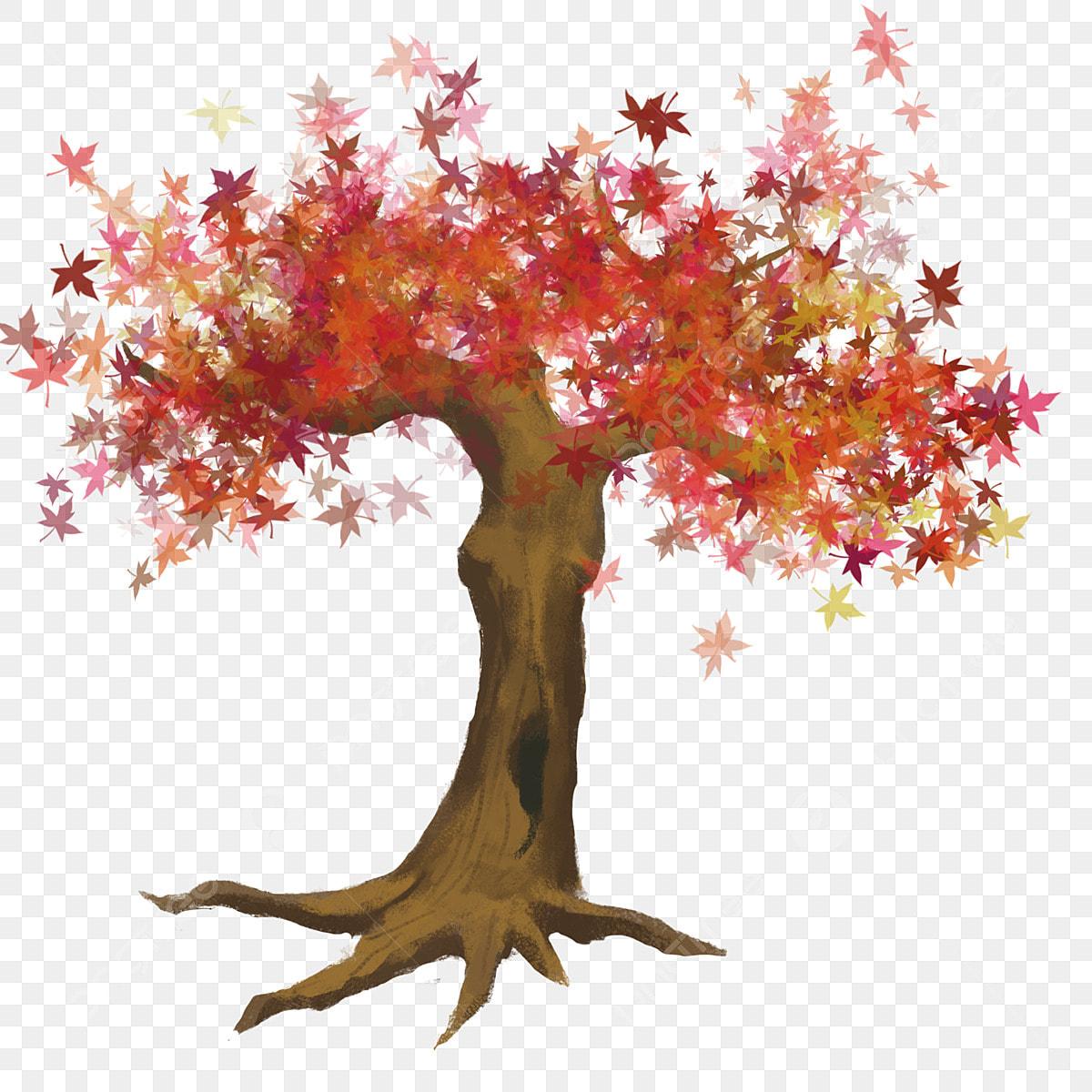 Maple Tree Hand Painted Irregular Shape Transparent Bottom No