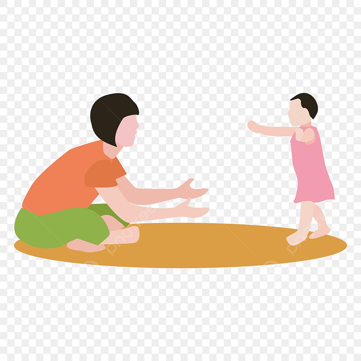 Mère Petite Fille Apprendre à Marcher Maman Apprend à Sa