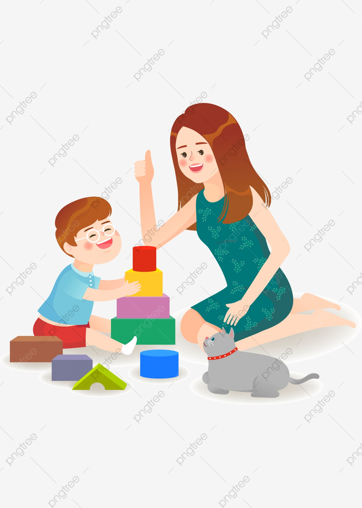 Mother And Child Play Building Blocks Parent Child