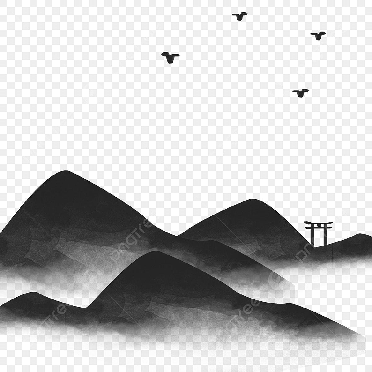 Pico Da Montanha Ganso Selvagem Pintura Preto E Branco Pico