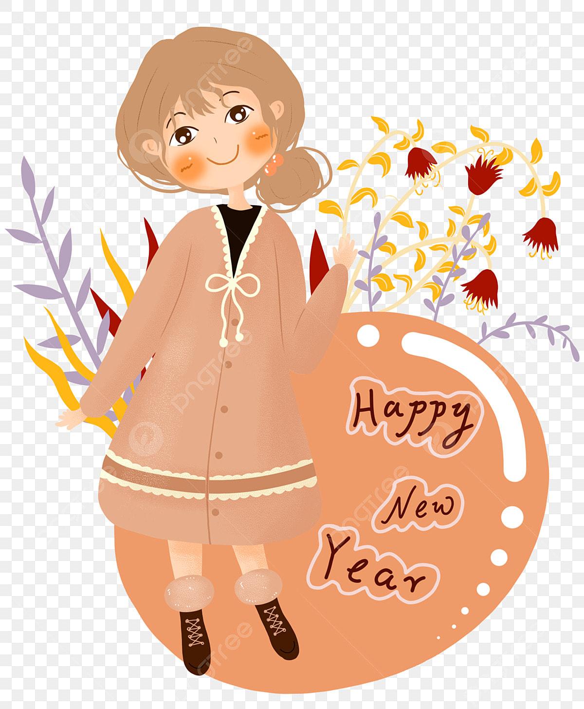 新年手描き女の子新年あけましておめでとうございます女の子イラスト ピンクの服 植物 植物イラスト画像とpsd素材ファイルの無料 ダウンロード Pngtree