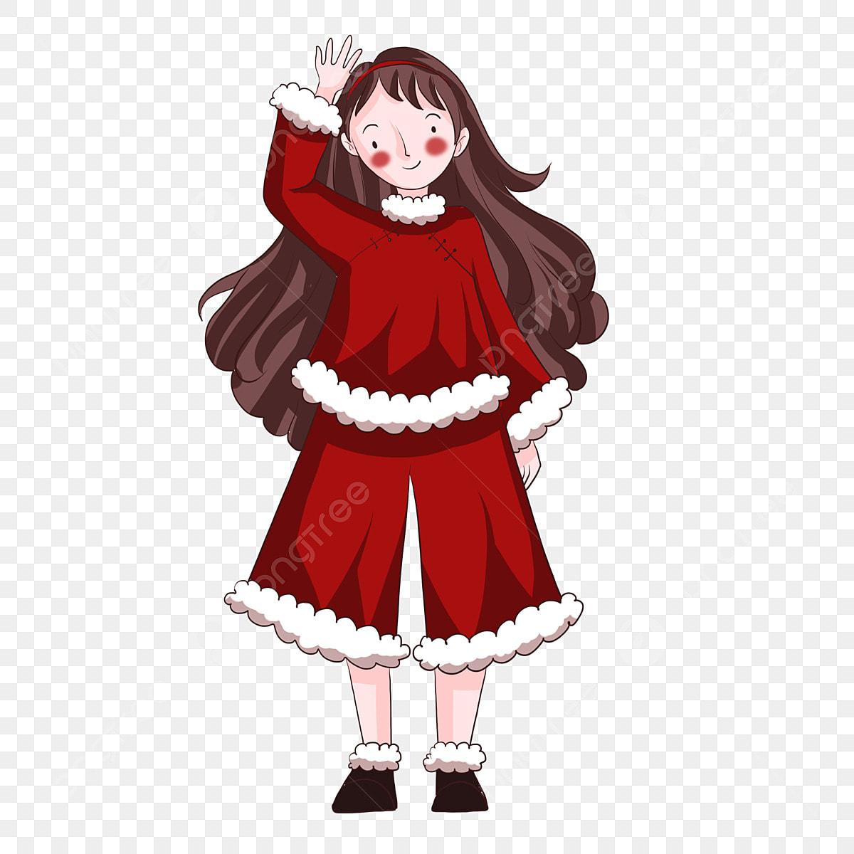 Nouvelle Année Feu Rouge Fille Dessiné à La Main Robe Rouge