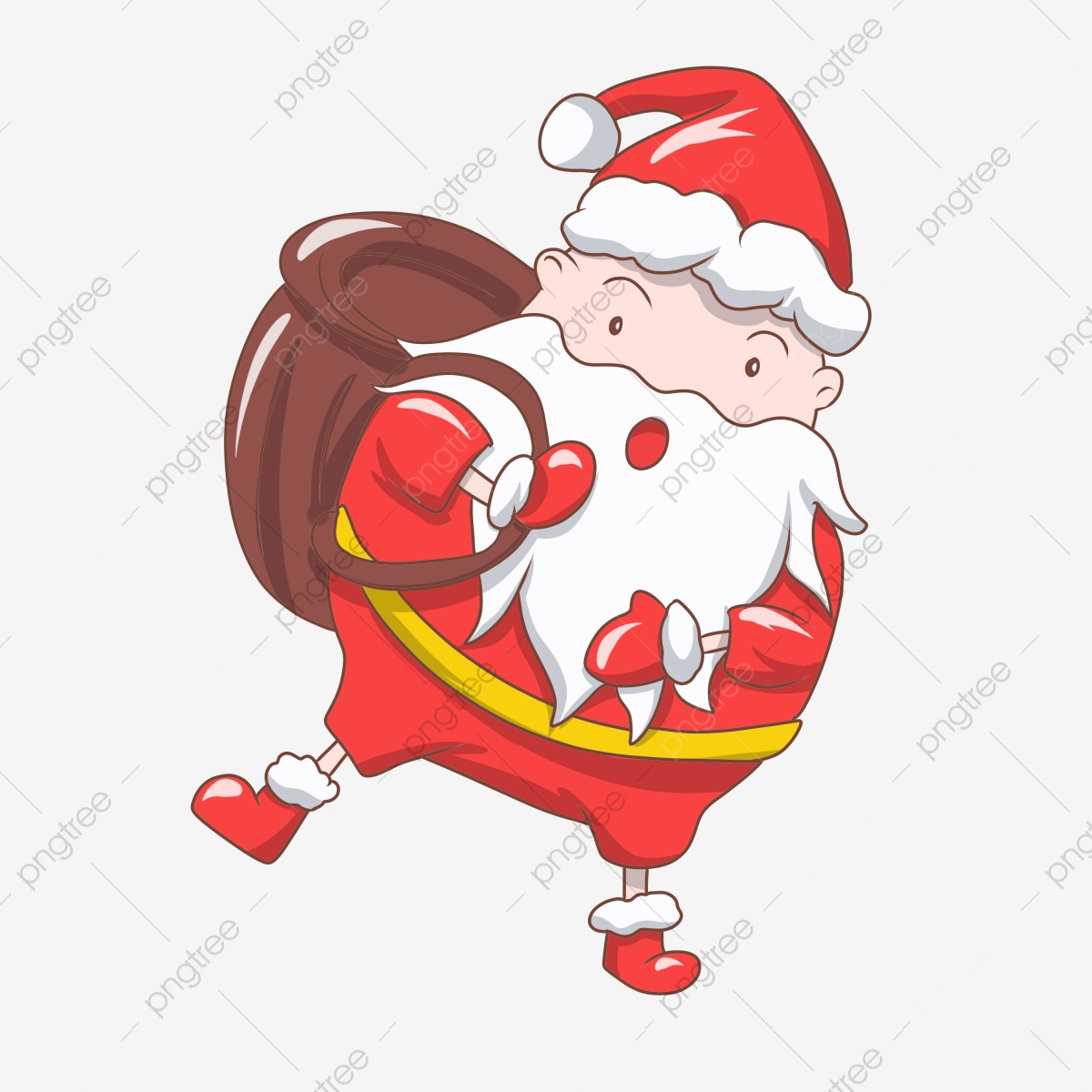 Old Man With Brown Bag Cute Santa Claus Merry Christmas Cartoon Santa Red Christmas Hat Old Man In Red Santa Illustrator Png Transparent Clipart Image And Psd File For Free Download