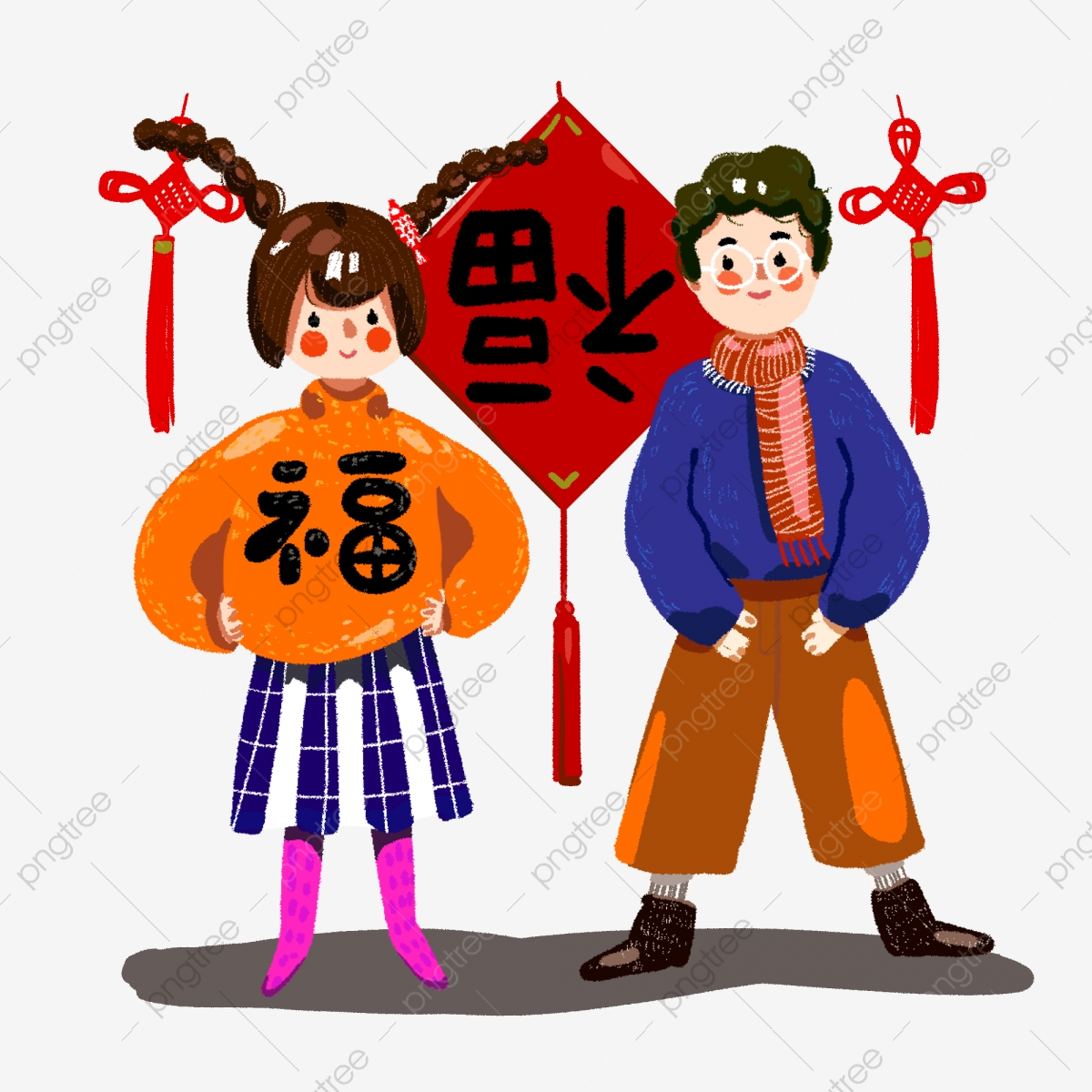 One Man And One Woman Reversed Blessing Chongtian Chinese Knot