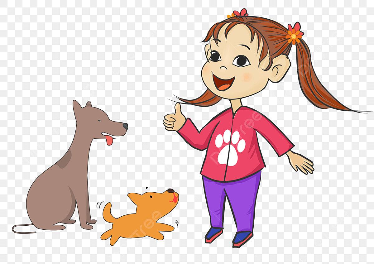 Дрессировка домашних животных Дрессировка собак Маленькая девочка ...