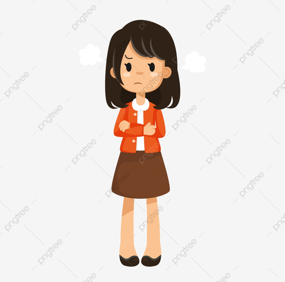 Pissed Off Angry Expression Q Version Q Version Girl Lovely Cute Girl Cartoon Png And Vector With Transparent Background For Free Download