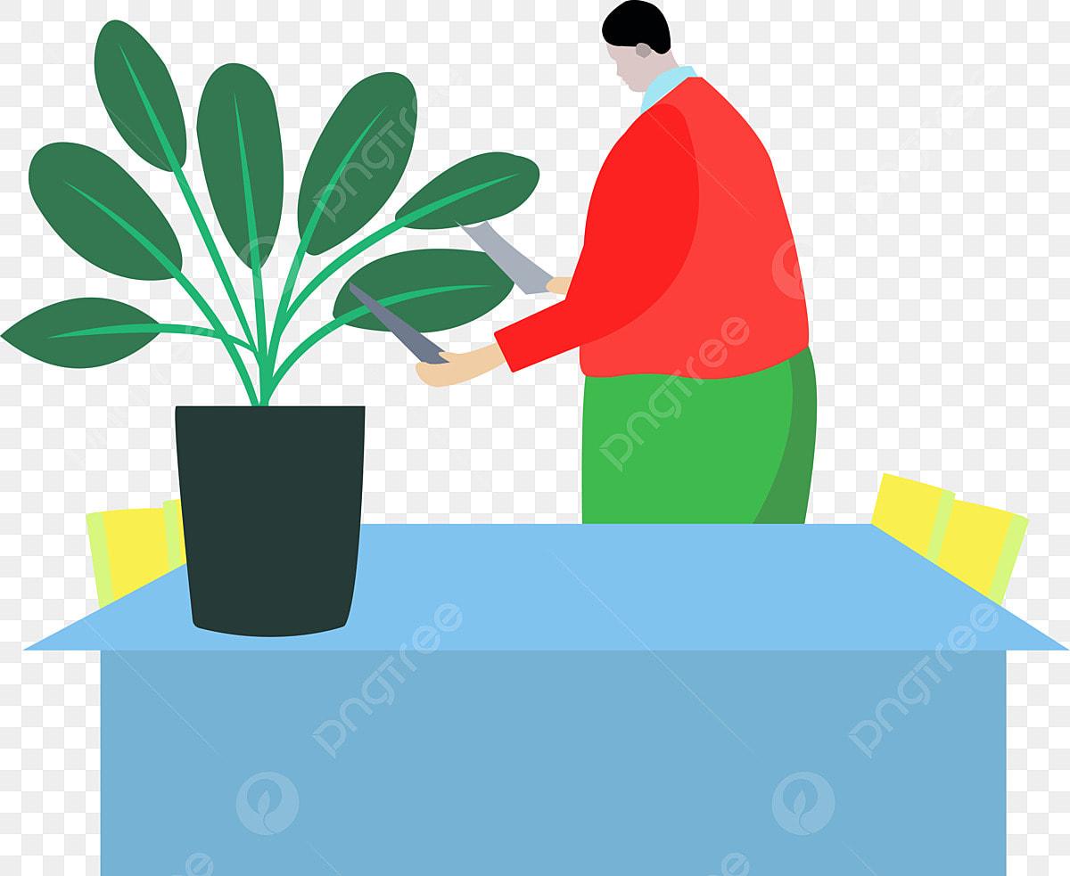 Plante Plante En Pot Vert Dessin Animé Bleu Tableau