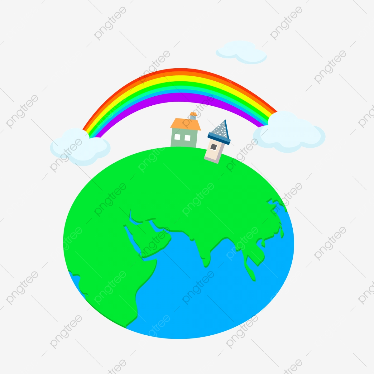 Arc En Ciel Nuages Blancs Village Global Dessin Animé
