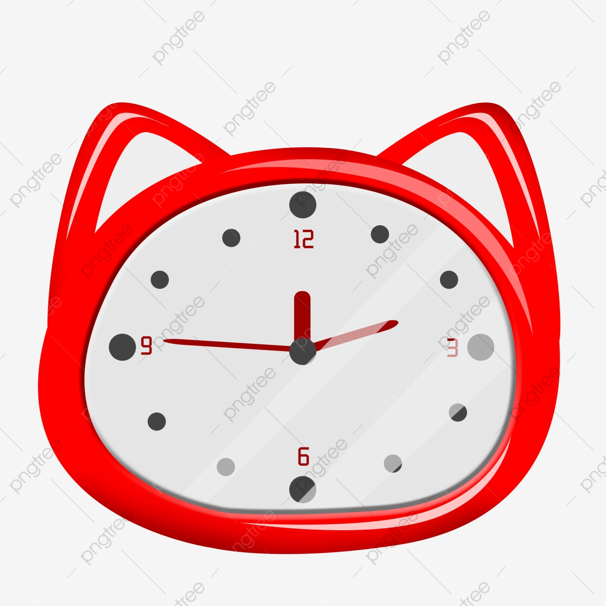 Red Alarm Clock Cute Alarm Clock Illustration Cat Head Clock