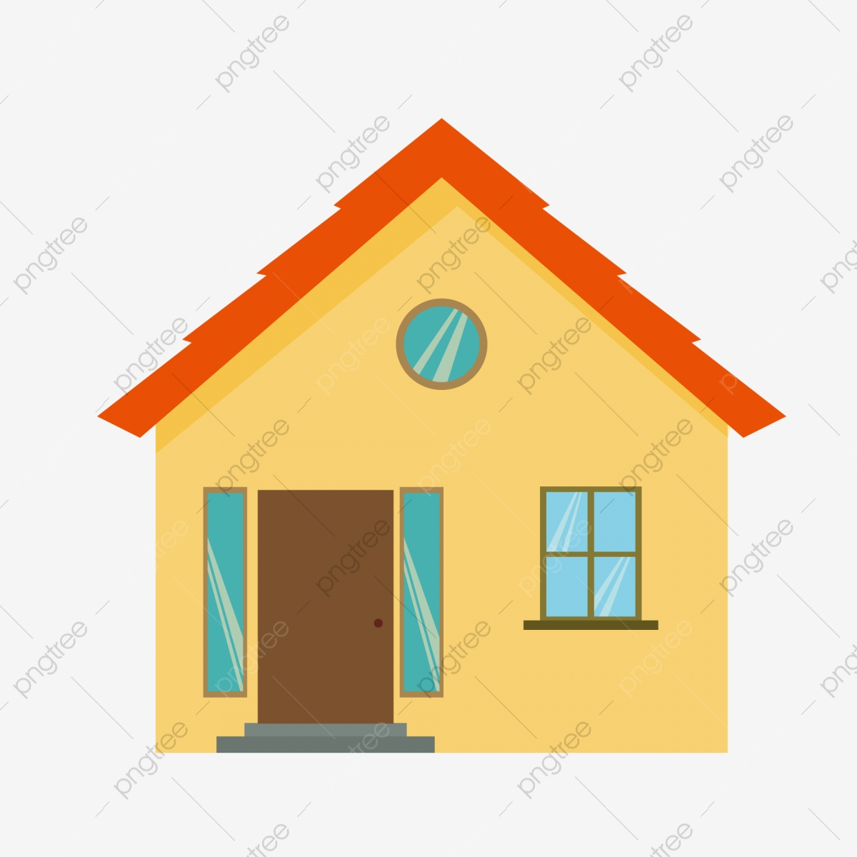 Red Roof Yellow House Hand Painted Design Cartoon Round Window Png And Vector With Transparent Background For Free Download