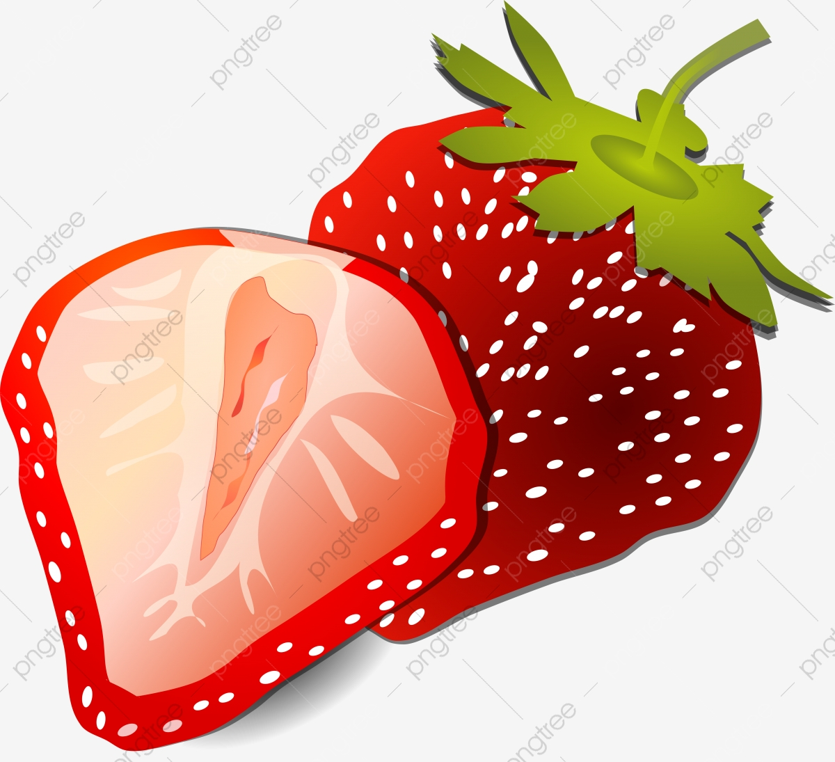 Semi Realistic Half Cartoon White Seed Strawberry Half Strawberry Whole Strawberry Dark Red Strawberry Strawberry Season Png And Vector With Transparent Background For Free Download