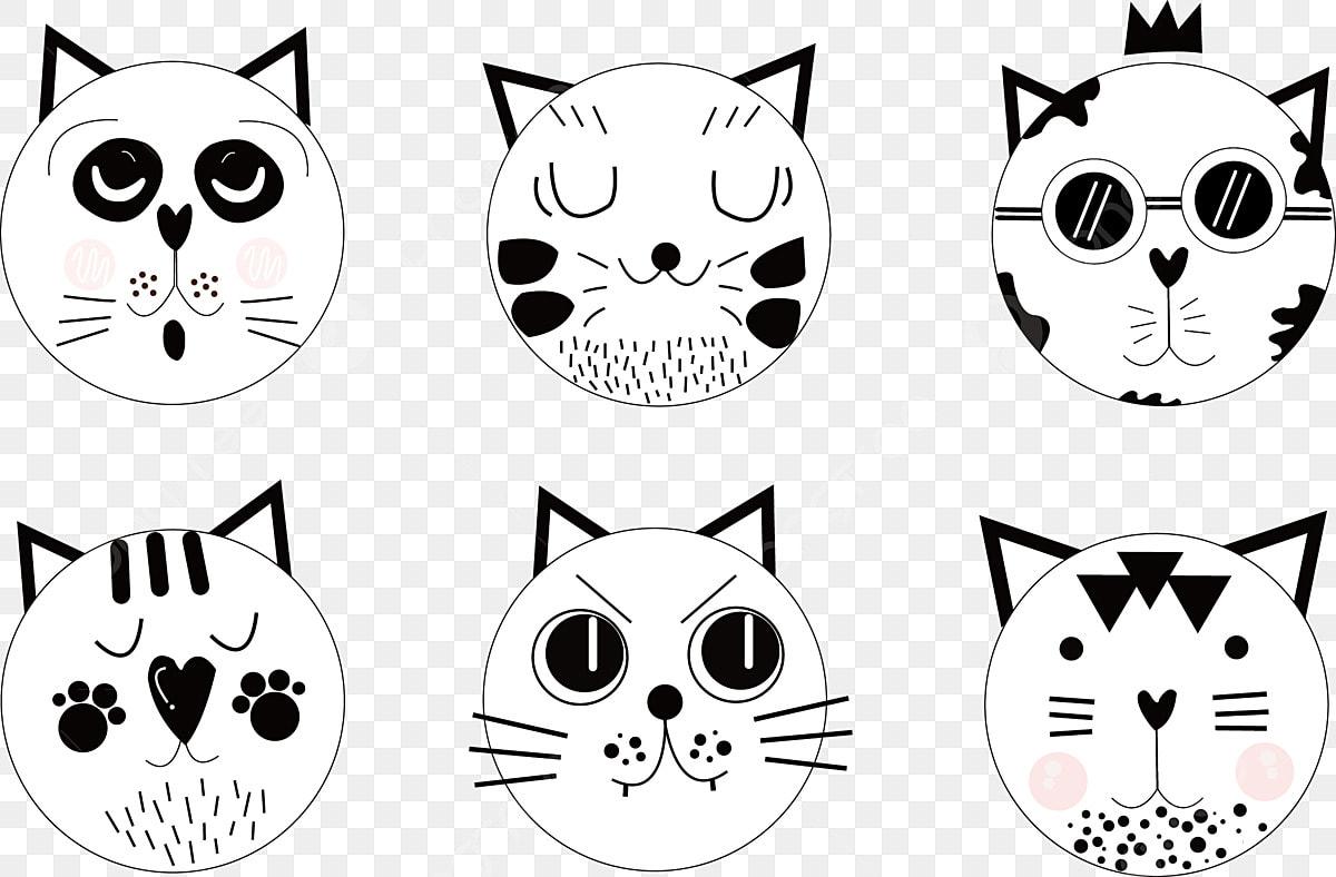Gambar Anak Kucing Malu Kucing Putih Kucing Comel Hitam Comel Menggambarkan Merah Jambu Png Dan Vektor Untuk Muat Turun Percuma