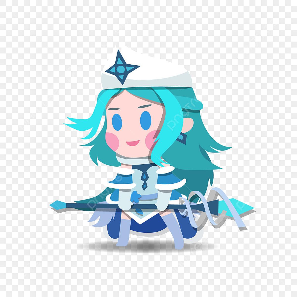Image Animee A Deux Tetes Vif Et Drole Coquine Robe Bleue Baton De Cristal Anime Baton De Cristal Robe Bleue Png Et Vecteur Pour Telechargement Gratuit