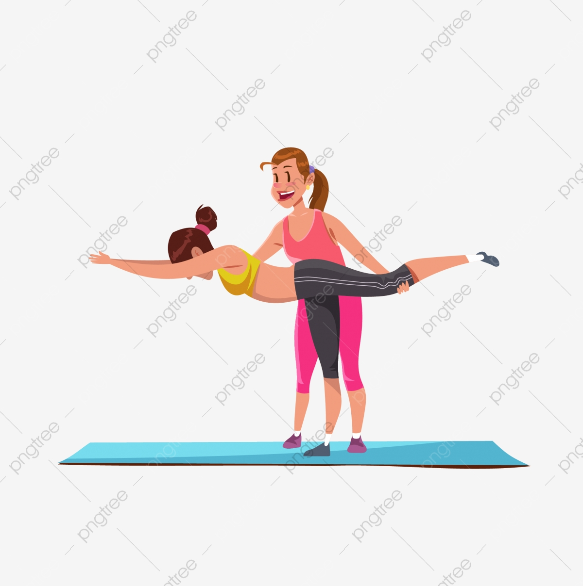 Yoga Cartoon Yoga Yoga Mat Pilates Coach Athlete Work Out Png And Vector With Transparent Background For Free Download