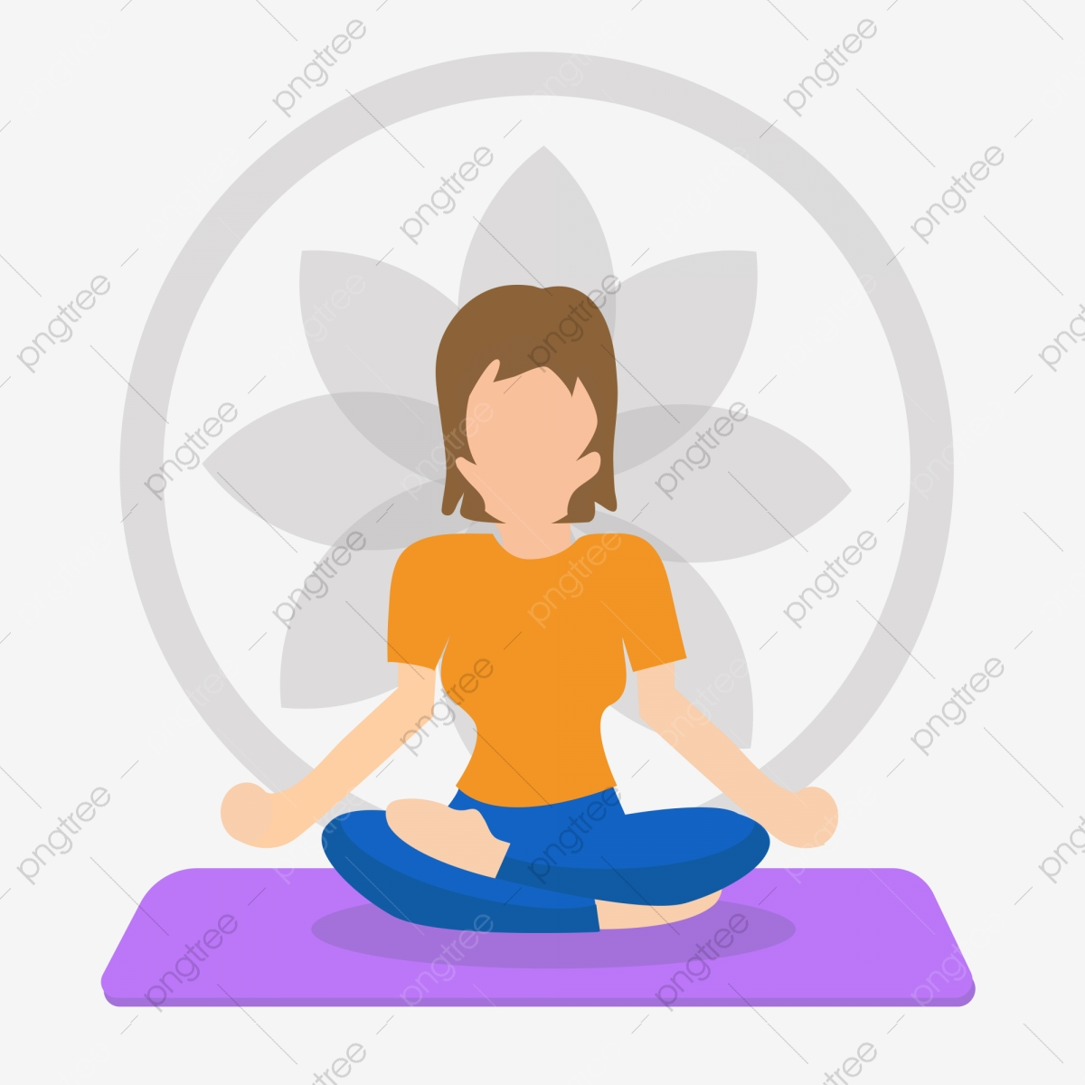 Yoga Woman Sitting Yoga Mat Yoga Day Fitness Gym Motion Png And Vector With Transparent Background For Free Download