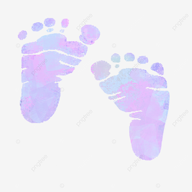 Hand-painted Neonatal Halo Watercolor Footprints, Coloured Drawing